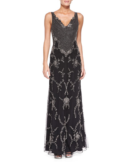 Alice + Olivia Nessa Beaded Scalloped Chiffon Gown