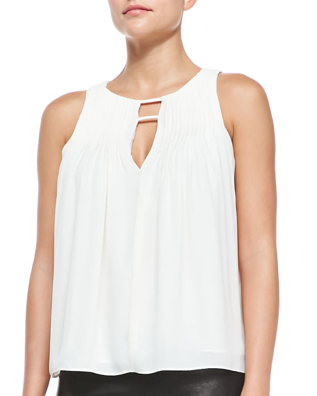 Sleeveless Pintucked High-Low Blouse