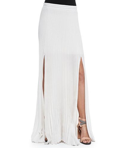 Pleated Pull-On Maxi Skirt