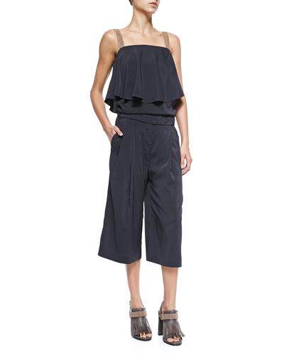 Culottes Jumpsuit with Monili Straps