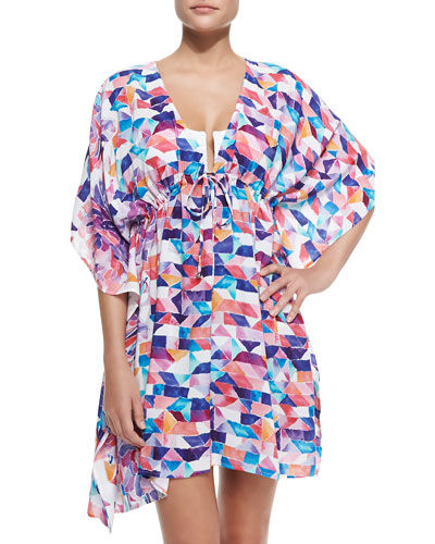 Plunging Collage Caftan W/ Empire Waist