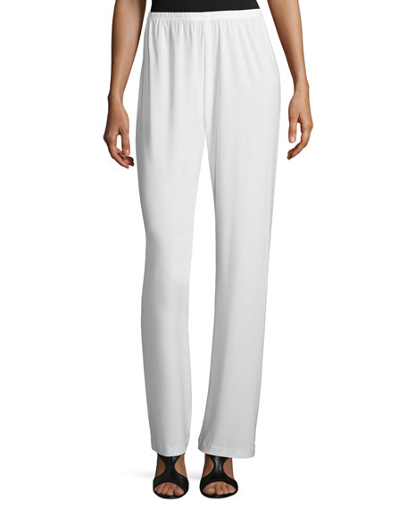 Caroline Rose Stretch-Knit Straight-Leg Pants, White, Petite