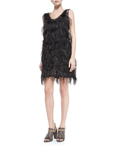 Sleeveless Ostrich Feather Dress