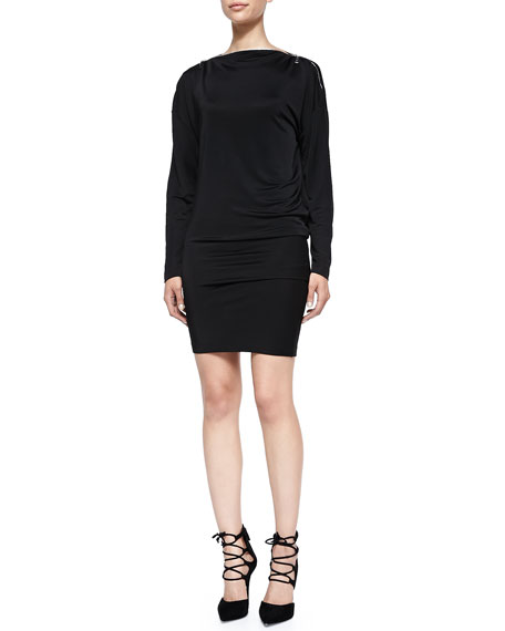 McQ Alexander McQueen Zip-Detail Boat-Neck Jersey Dress