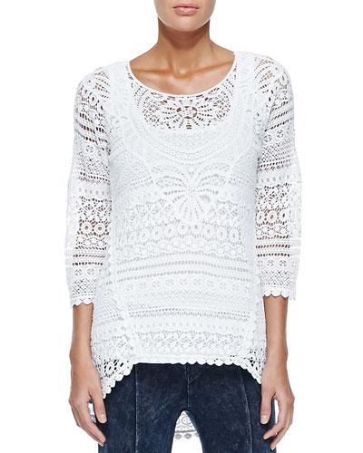Delaney Crochet 3/4-Sleeve Top, White, Plus Size