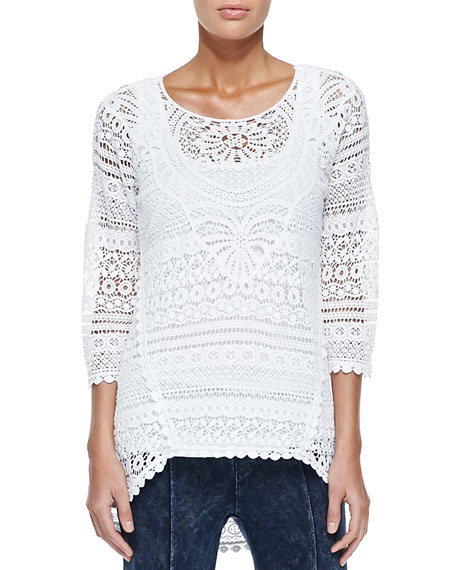 Delaney Crochet 3/4-Sleeve Top, White, Plus Size