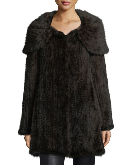 Belle FareMink Fur Oversized-Collar Coat