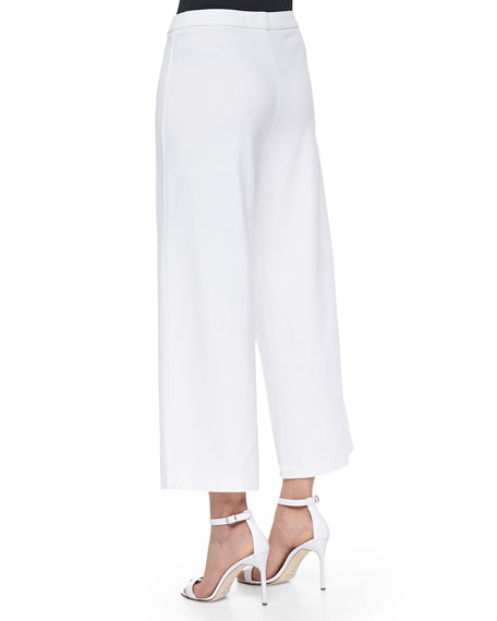Wide-Leg Interlock Pants, White, Petite