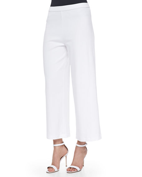 Joan Vass Wide-Leg Interlock Pants, White, Petite