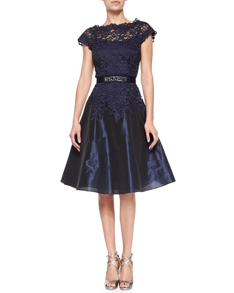 Cap-Sleeve Lace Bejeweled-Waist Cocktail Dress