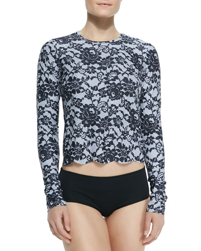 UPF 50 Scallop-Cut Long-Sleeve Swim Tee, Lace Print
