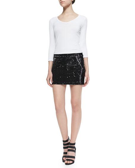 Raquel Sequined Miniskirt W/ Zips