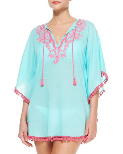Pompom-Trim Embroidered Voile Coverup