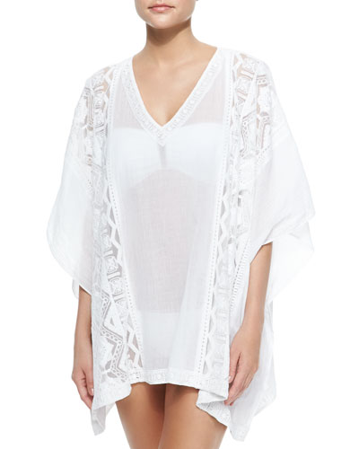 Lace-Trim Voile Caftan Coverup