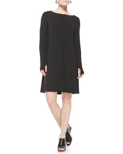 Cozy Stretch Jersey Dress W/Thumbhole Cuffs, Petite