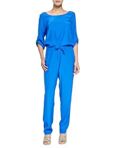 Long-Sleeve Jumpsuit with Drawstring Waist