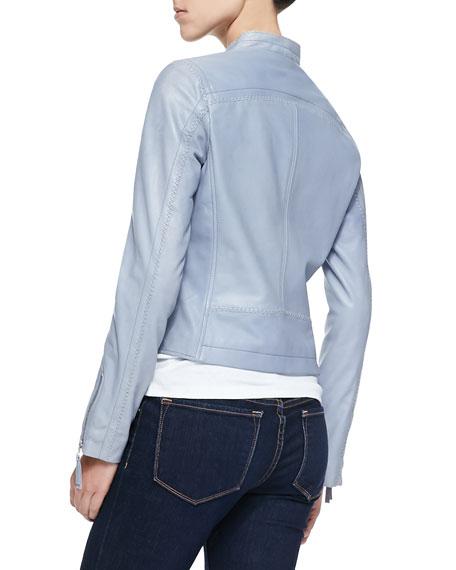 Asymmetric-Zip Leather Moto Jacket
