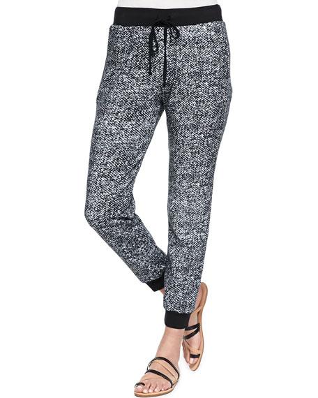 Landers Cropped Printed Fleece Sweatpants