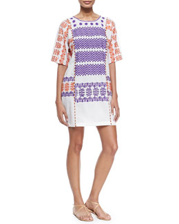 Luz Half-Sleeve Embroidered Cotton Coverup Dress