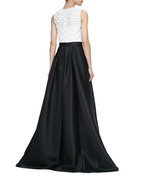 Sleeveless Combo Ball Gown, Ivory Black