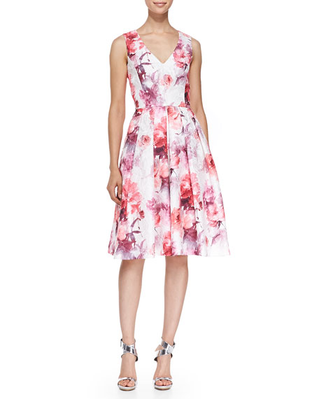Carmen Marc Valvo Sleeveless V-Neck Floral Cocktail Dress,