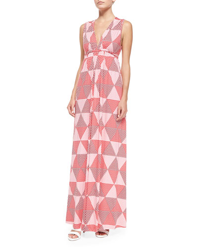 Sleeveless Hexagon-Print Jersey Maxi Dress