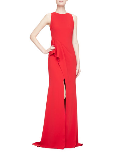 Sleeveless Scissor Ruffle-Skirt Gown