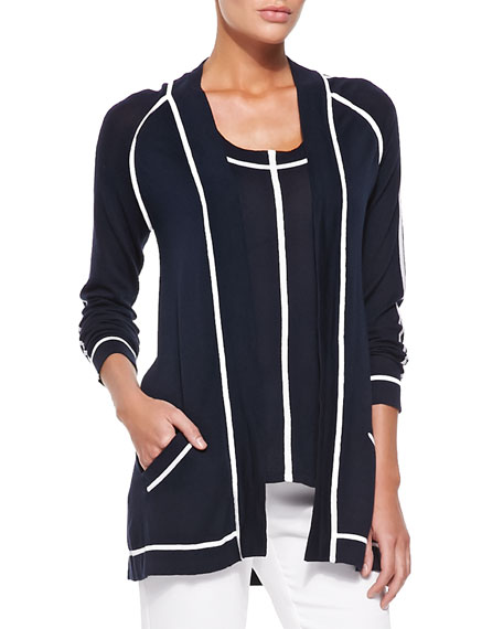 Neiman Marcus Cardigan with Contrast Trim