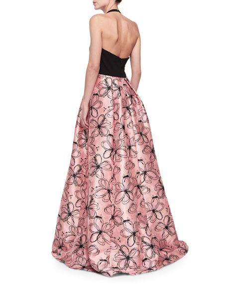 Halter-Neck Gown with Floral Skirt