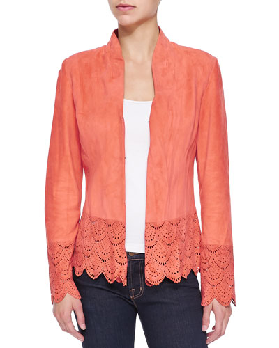 Suede Jacket W/ Laser-Cut Scalloped Detail
