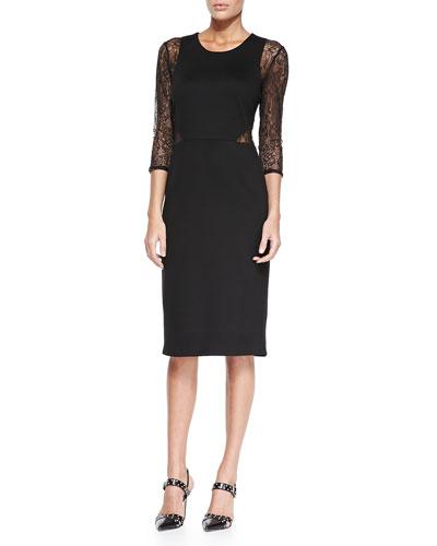 Crewneck Midi Dress W/ Lace Sleeves