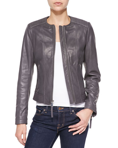 T977S Neiman Marcus Leather Jacket with Trapunto Trim
