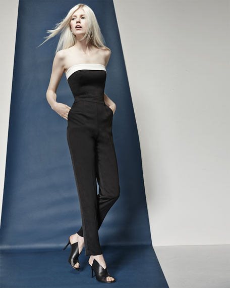 Iona Strapless Fitted Sateen Jumpsuit