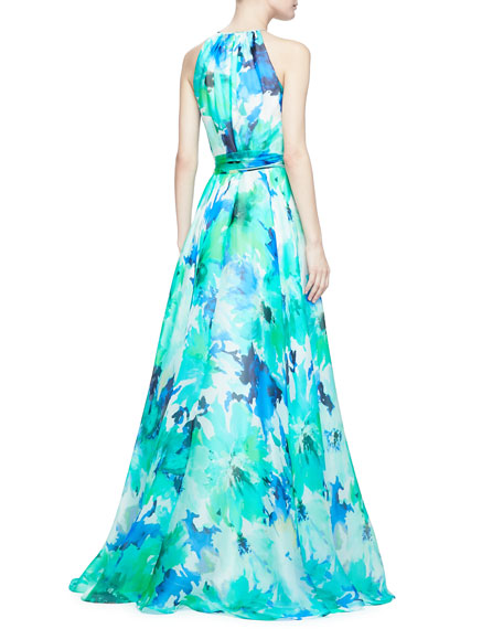 Sleeveless Belted Floral Ball Gown