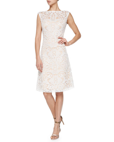 Sleeveless Boat-Neck Lace Overlay Cocktail Dress