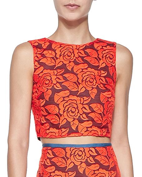 Nicole Miller Artelier Sleeveless Floral Lace Crop Top