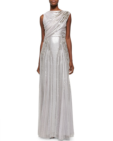 Jenny Packham Sequined Draped Tulle Gown, Lilac