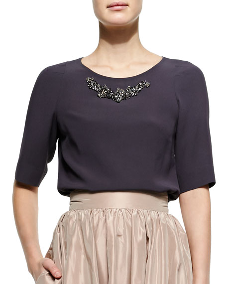 Jenny Packham Half-Sleeve Bead-Neck Top