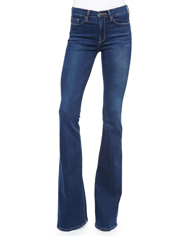 FRAME Forever Karlie Flared-Leg Palisades Denim Jeans, Blue | Neiman ...