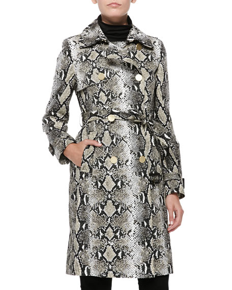 Belted Python Trench Coat
