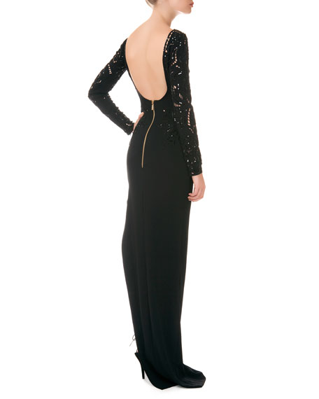 Long-Sleeve Beaded-Bodice Open-Back Column Gown
