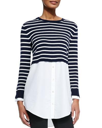 Theory Rymalia Striped Cropped Sweater w/Underlay