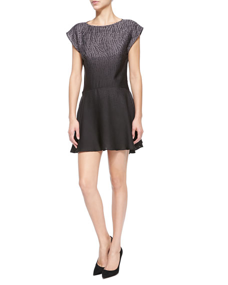 Halston Short-Sleeve Printed Ombre Mini Dress