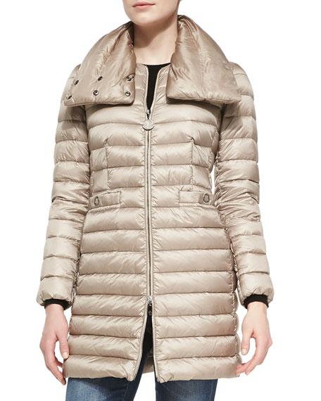 Vanne Funnel-Neck Puffer Coat, Ivory