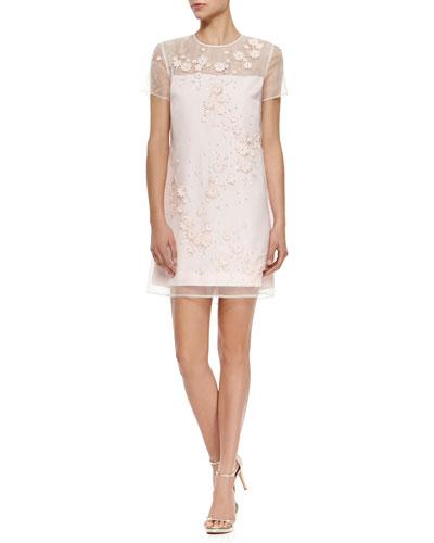 Floral-Embellished Illusion Mini Dress