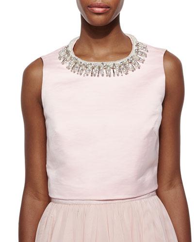 Emmilye Embellished-Neck Crop Top, Pale Pink