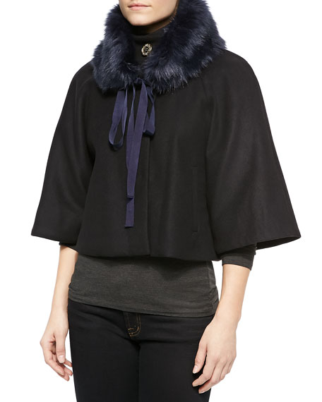 Elie Tahari Nadja Faux-Fur Swing Coat