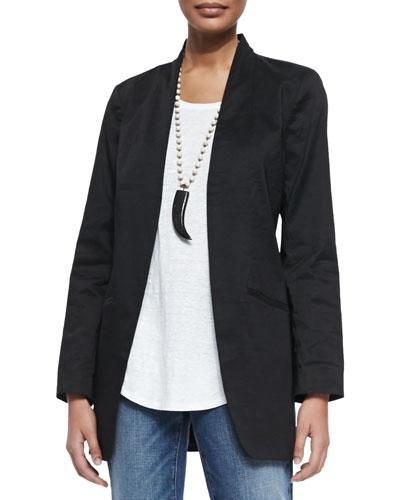 Long Polished Ramie Jacket, Petite