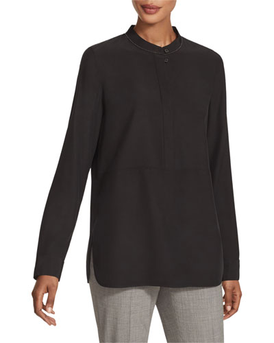 3/4-Sleeve Colorblock Dress, Fuchsia/Coral, Women's