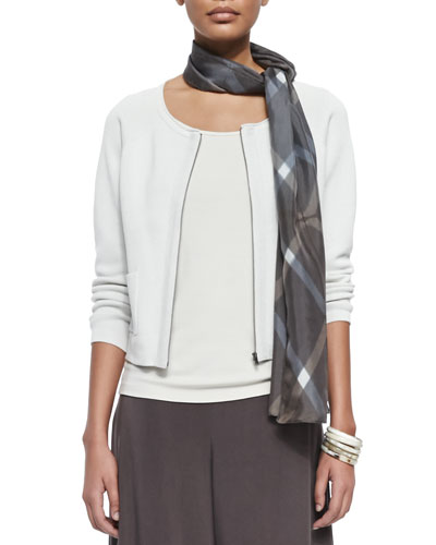 Silk-Cotton Interlock Short Jacket, Women's